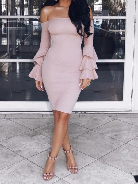 Sexy Off Shoulder Trumpet Sleeve Solid Color Bodycon Mini homecoming Dress cg1782