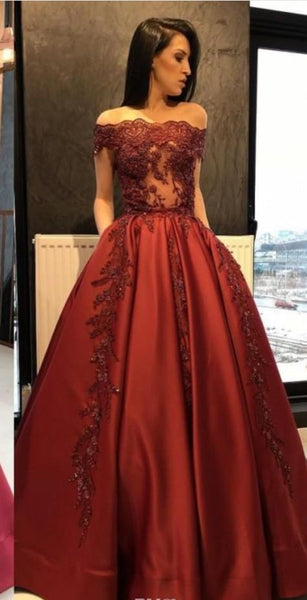 Dark Red Evening Gown Off The Shoulder Lace Prom Dress    cg17845