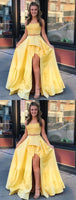 2 Pieces High Low Yellow Lace Prom Dresses, 2 Pieces Yellow Lace Formal Graduation Evening Dresses cg1786