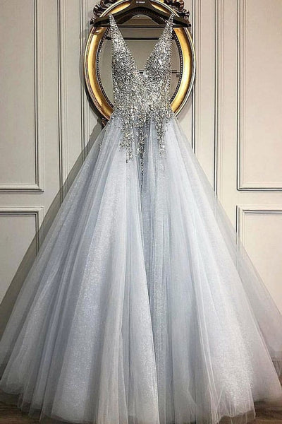 Gray v neck tulle beads long prom dress, evening dress cg1787