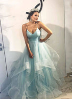 Blue v neck tulle long prom gown, blue evening dress cg1789