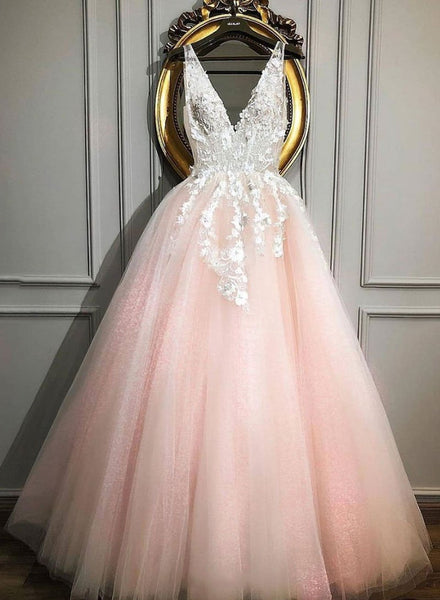 Pink v neck tulle lace long prom dress, pink evening dress cg1791