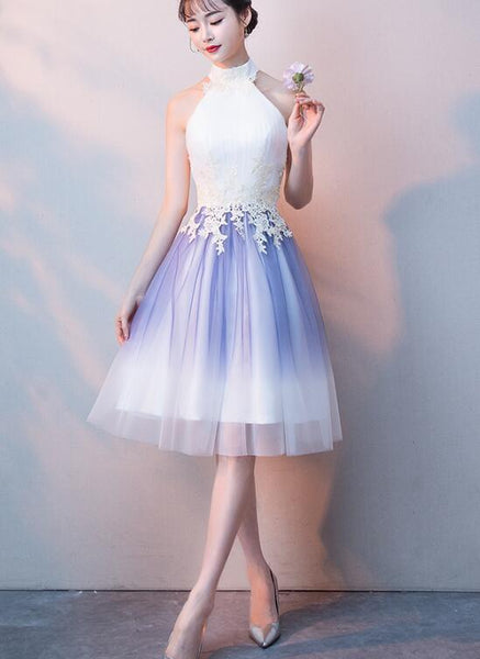 Cute Halter Tulle A-Line Knee Length Party Dress, Light Purple Homecoming Dress cg1792