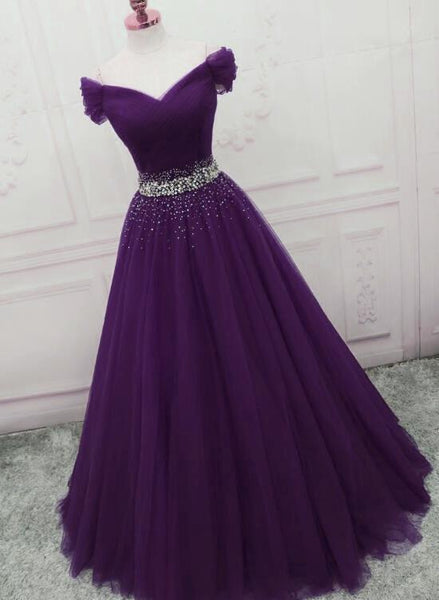 Charming Dark Purple Tulle Long Off The Shoulder Party Dress, Long Prom Dress cg1794