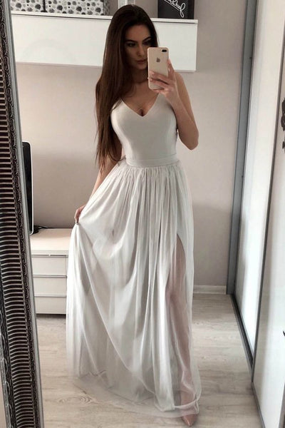 A-line V Neck Simple Prom Dress , Charming Prom Dress    cg17985