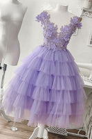 Purple tulle short homecoming dress, purple evening dress cg1799