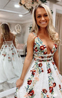 Handmade A-line White Prom Dress with Floral Embroidery, Long Prom Dress 2019 cg1802