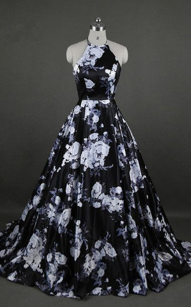 Black Floral Print Sleeveless Floor Length Ball Gown Long Prom Dress cg1806