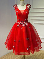 A line red v neck homecoming dress cg1810