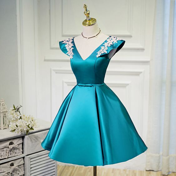 Blue Homecoming Dresses, Blue Short Party Dress, Blue Formal Dresses  cg1811