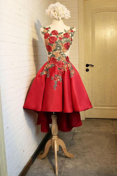 Fancy Lace Homecoming Dress Red Lace Applique Short Dress, Red Homecoming Dress cg1812