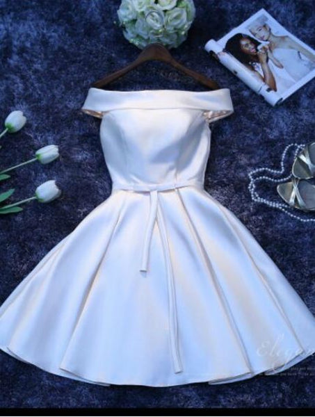 Simple White V Neck Sleeveless A Line Short Satin Homecoming Dresses  cg1813