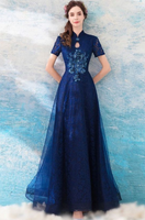 Elegant Navy Blue A Line Tulle Formal prom Party Dress With Short Sleeves cg1814