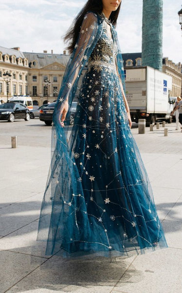 Blue dress with constellation embroidery cg1815