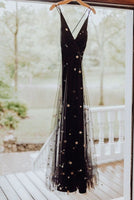 Black tulle gold star wedding dress. fashion prom gown cg1816