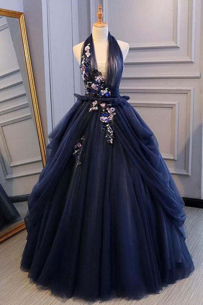 Ball Gown Blue Tulle Lace Long Prom Dresses Deep V Neck Backless Evening Dresses  cg1820