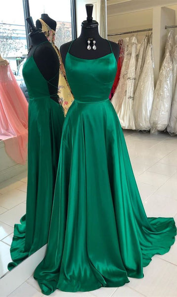 2019 Long Prom Dresses with Cross Back, Emerald Green Prom Dresses Party Dresses cg1823