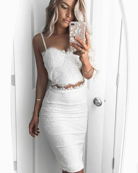Two Piece Square Lace Bodice Knee Length White Graduation Dress Prom Dress, Formal Gown    cg18241