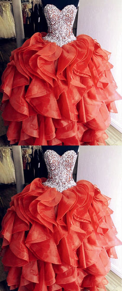 Unique Orange Quinceanera Dresses Crystal Beaded Sweetheart Corset Organza Ruffles Prom Dress   cg18251