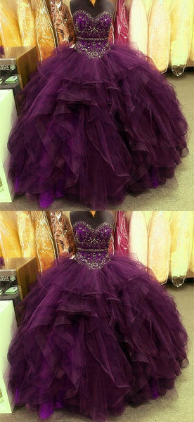 Grape Quinceanera Dresses Sweetheart Beaded Corset Ruffles Ball Gown For Sweet 16 Prom Dress   cg18252