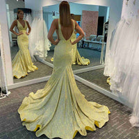 Stunning Yellow Mermaid Prom Dress   cg18263
