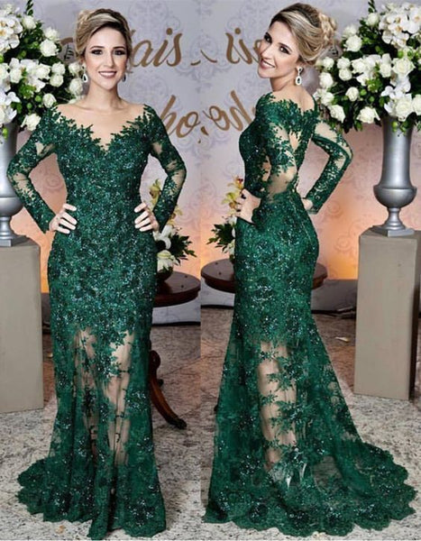 Long Sleeves Lace Mermaid Prom Dresses See Through Evening Gowns   cg18283