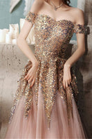 princess off the shoulder champgane sequins long formal prom dress   cg18288