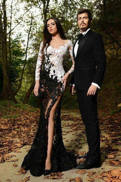 All See Through White Black Lace Mermaid Long Sleeves Sexy Prom Dresses Evening Dress cg1828