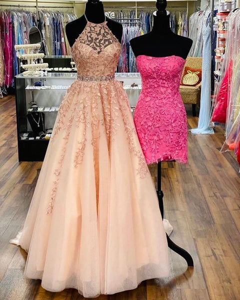 2021 pink long prom dress with halter neckline   cg18294