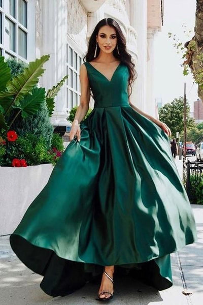 V-neckline eveing dress Dark Green Prom Dresses with Satin Skirt v-neck party dress cg1829