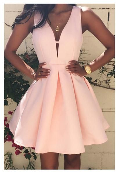 Deep V-Neck Pink Homecoming Dress, Short Satin Dress, Simple Party dresses cg182