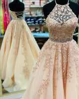 Halter Pink Lace Appliques Tulle Long Prom Dress   cg18300