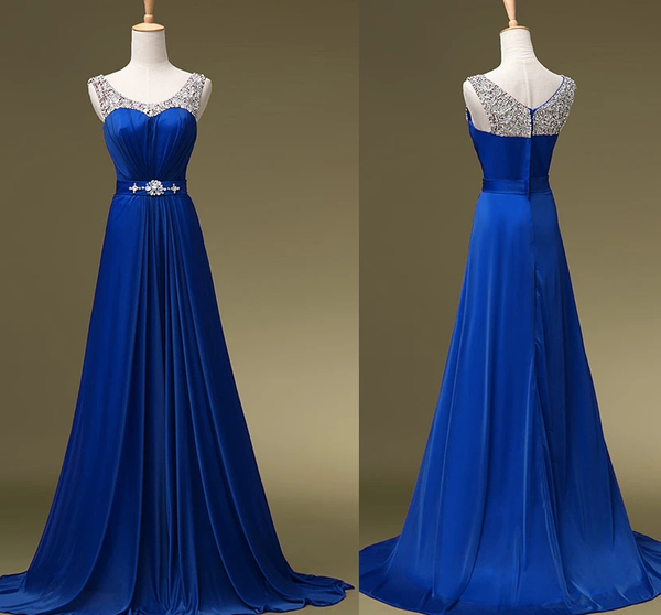Charming Blue Sequins Round Neckline Bridesmaid Dress, A-Line Long Prom Dress   cg18302