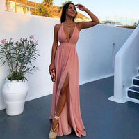 Sexy Deep V Neck Pink Chiffon Prom Party Dress with Split and Criss Cross Back cg1832