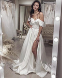 SEXY WEDDING DRESS SATIN SPLIT OFF SHOULDER PROM DRESS    cg18332