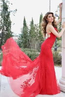 Prom Dress gorgeous mermaid red lace appliqued long formal dress     cg18339