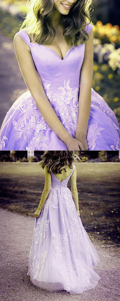 Elegant Lilac Princess Ball Gown Prom Dresses Off The Shoulder   cg18378