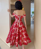 Red Lace Off Shoulder Tea Length Bridesmaid Dress, Lace Party Dress Prom Dress   cg18387