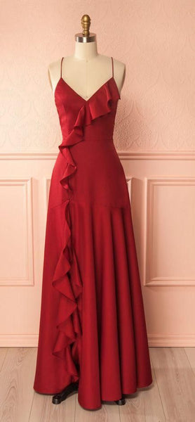 V-Neck A-line Long Prom Dress, Formal Dress Featuring Frills and Crisscross Back cg1840