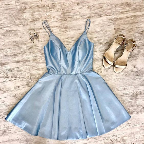 Double Straps Short Sky Blue homecoming Party Dress cg1841