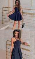 A-Line Spaghetti Straps Short Navy Blue Homecoming Dress cg1842