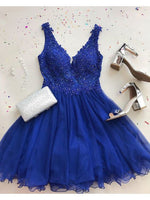 A-Line V-Neck Short Backless Royal Blue Homecoming Dress with Appliques cg1844
