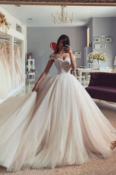 Champagne sweetheart neck off shoulder long prom gown, tulle formal dress   cg18456