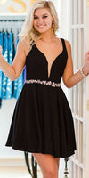 Black Satin Straps Short Dress Homecoming Dress With Crystal cg1845