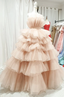 Pink tulle long prom dress A line evening dress   cg18485