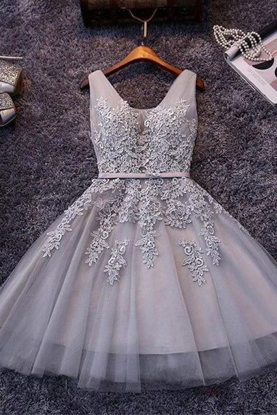 Short Gray Homecoming Dresses,Tulle Homecoming Dresses,Appliqued Homecoming Dresses cg184