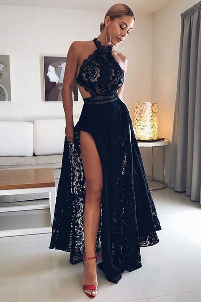 A-Line Halter Floor Length Black Open Back Lace Prom Dress with Split  cg1850