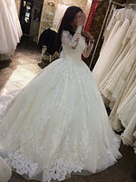 wedding dress Long Sleeves lace Prom Dress   cg18514