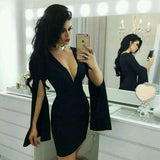 Sexy Mermaid slit Long Sleeves , V neck Black homecoming Dress cg1851