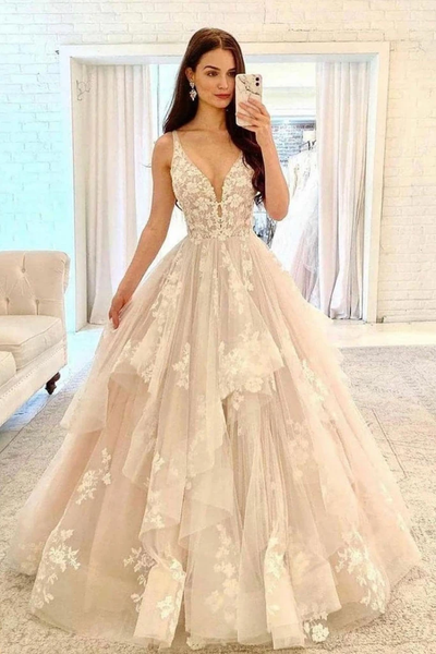 CHAMPAGNE V NECK TULLE LACE LONG PROM DRESS LACE FORMAL DRESS   cg18523